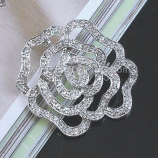 Silver Rose Crystal Broach