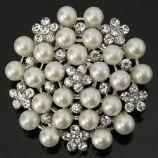 Silver Pearl and Diamond Broach