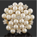 Gold Pearl and Diamond Broach